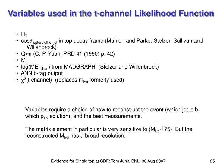 Variables used in the t-channel Likelihood Function