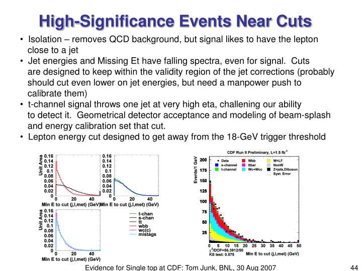 High-Significance Events Near Cuts