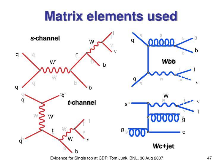 Matrix elements used