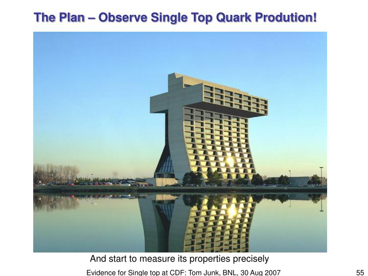 The Plan – Observe Single Top Quark Prodution!