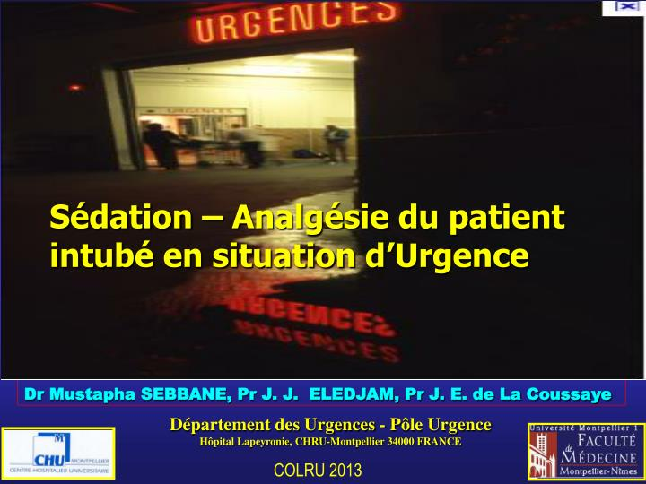 Sédation – Analgésie du patient intubé en situation d
