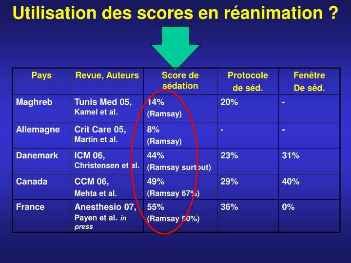 Utilisation des scores en réanimation ?