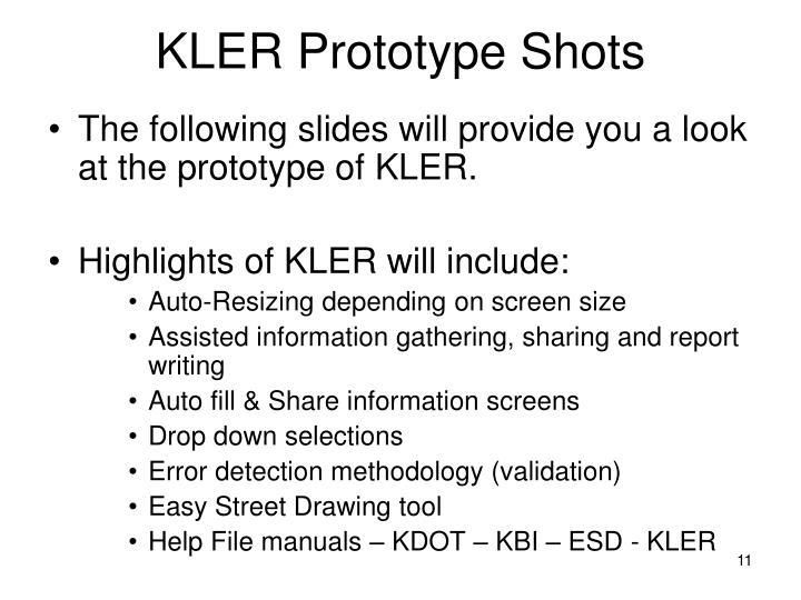 KLER Prototype Shots
