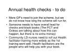 annual health checks to do