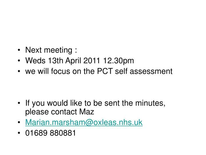 Next meeting :