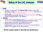 status of the lhc analyses