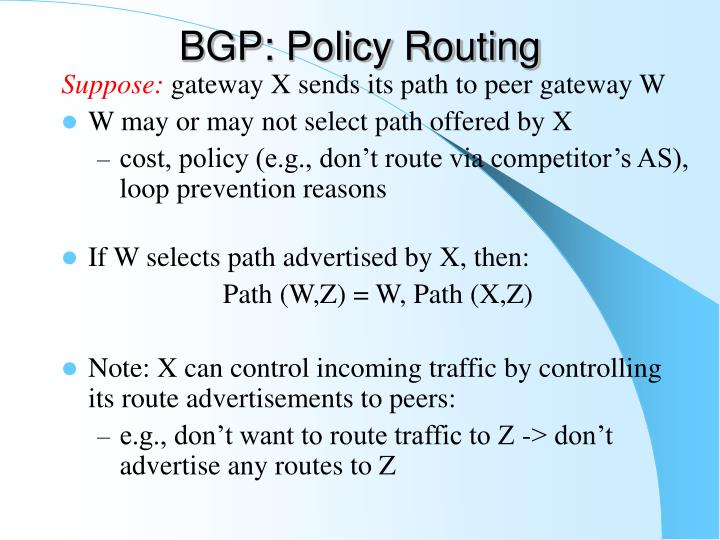 BGP: Policy Routing