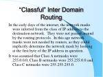 classful inter domain routing