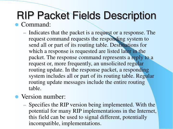 RIP Packet Fields Description