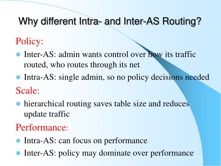 Why different Intra- and Inter-AS Routing?