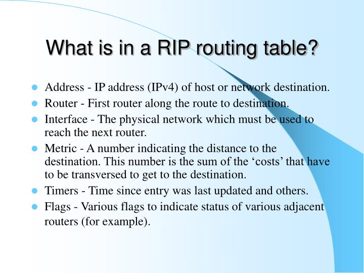 What is in a RIP routing table?