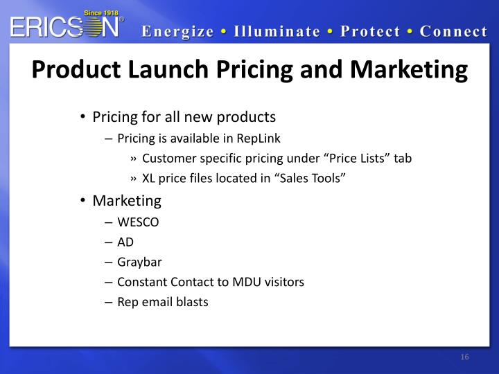 Product Launch Pricing and Marketing