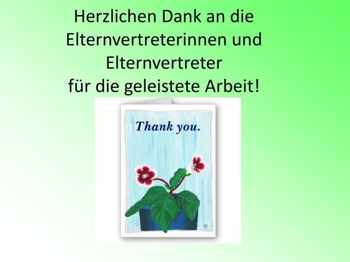 Herzlichen Dank an die Elternvertreterinnen und Elternvertreter