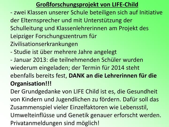 Großforschungsprojekt von LIFE-Child