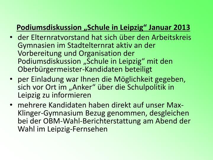 "Podiumsdiskussion ""Schule in Leipzig"" Januar 2013"