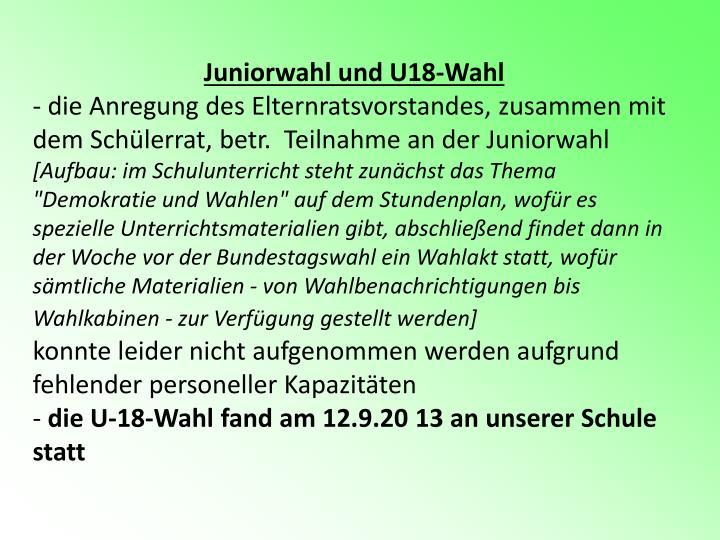 Juniorwahl und U18-Wahl
