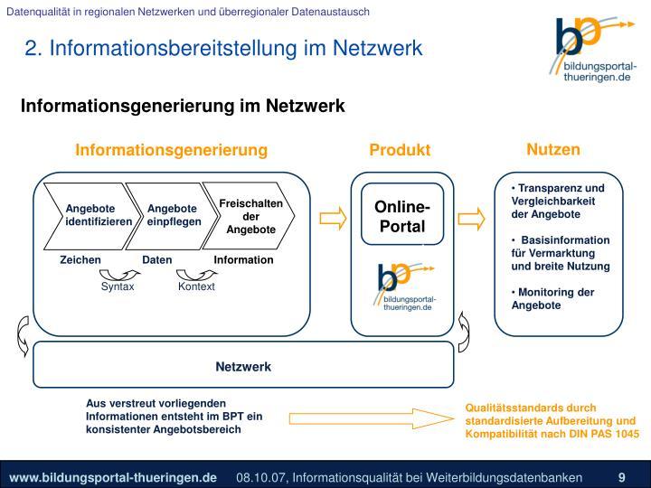 2. Informationsbereitstellung im Netzwerk