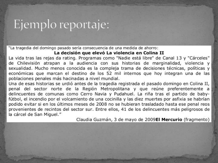 Ejemplo reportaje: