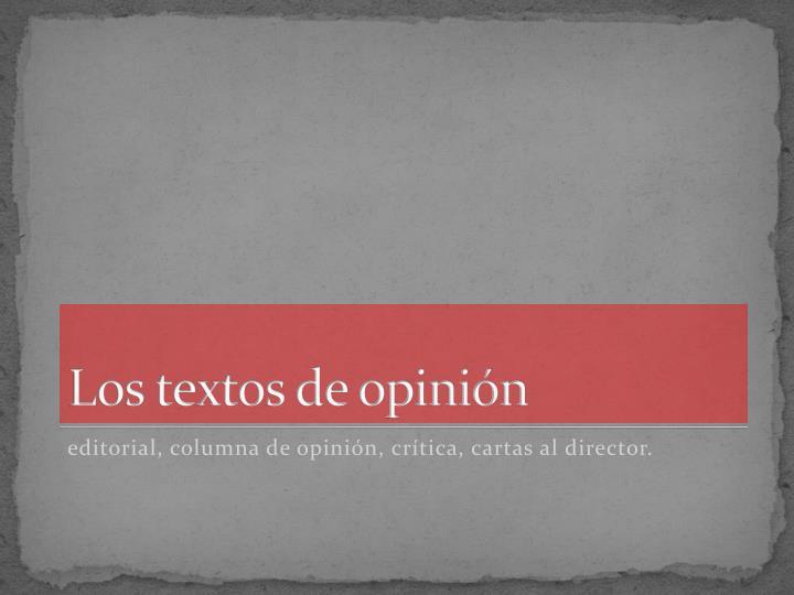 Los textos de opinión