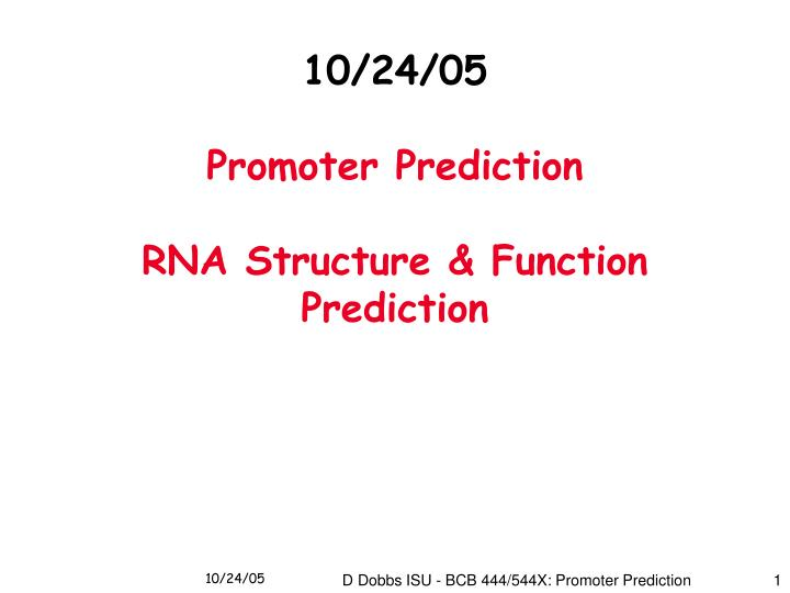 10 24 05 promoter prediction rna structure function prediction