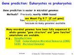 gene prediction eukaryotes vs prokaryotes
