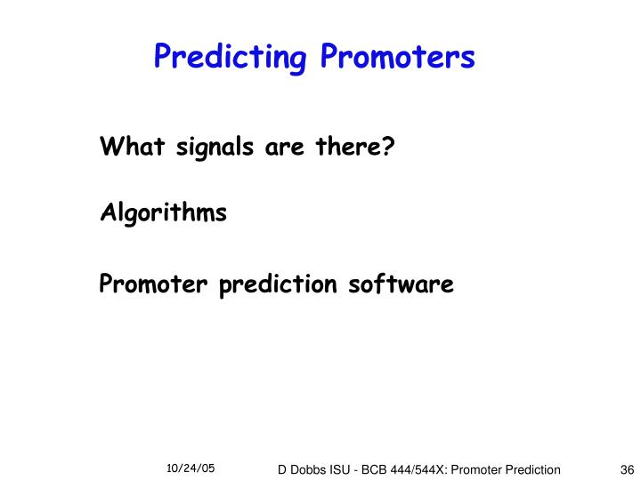 Predicting Promoters