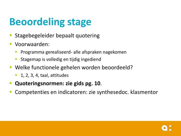 Beoordeling stage