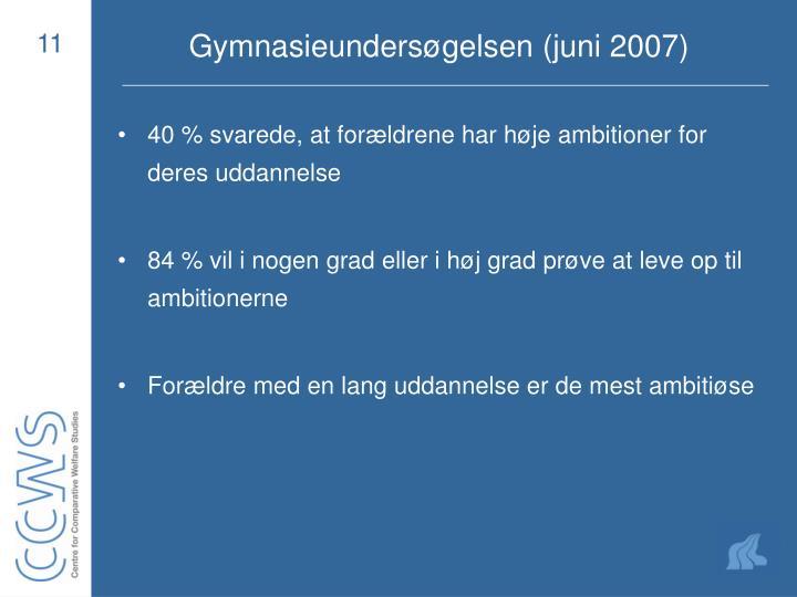 Gymnasieundersøgelsen (juni 2007)