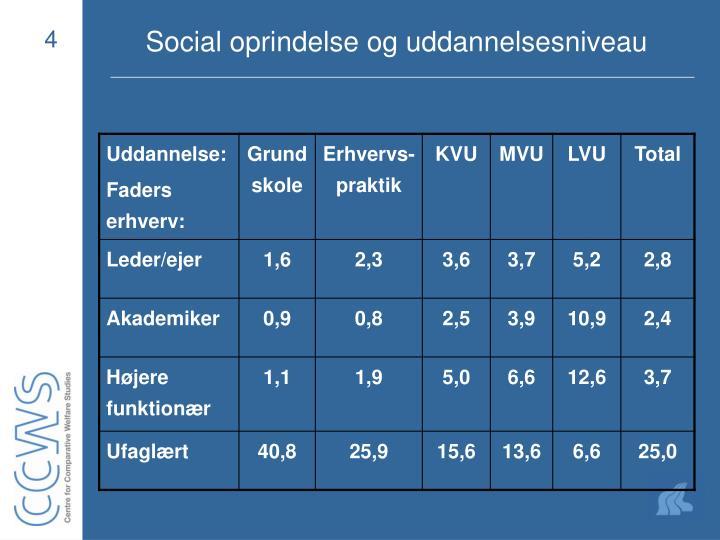 Social oprindelse og uddannelsesniveau