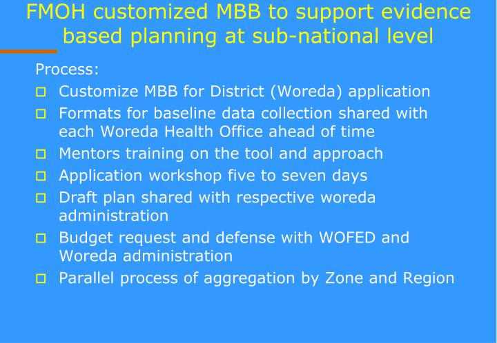 FMOH customized MBB to support evidence based planning at sub-national level