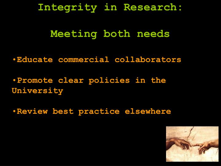 Integrity in Research: