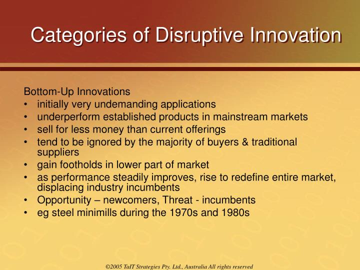Categories of Disruptive Innovation