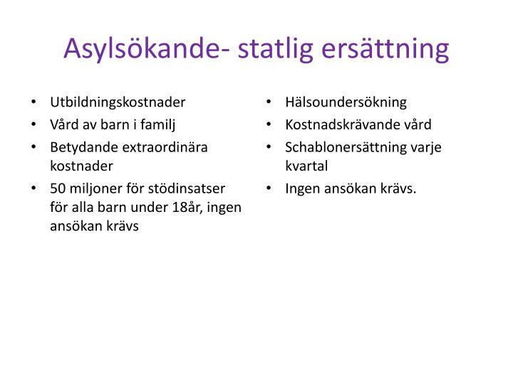 Asylsökande- statlig ersättning