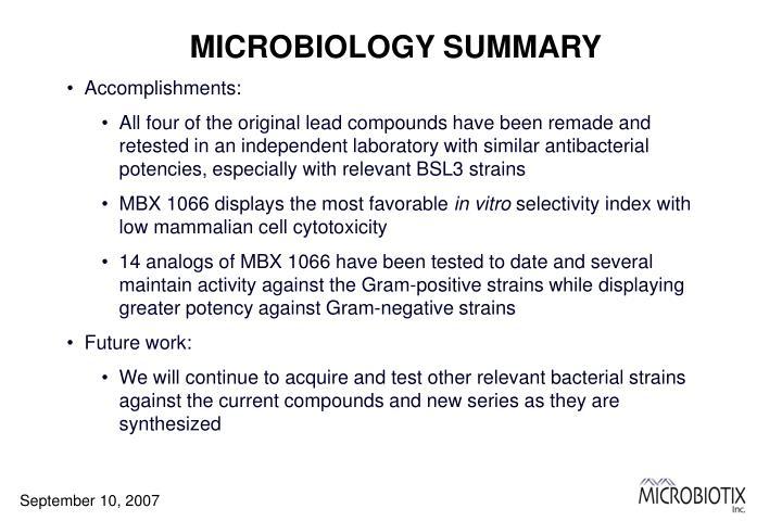 MICROBIOLOGY SUMMARY