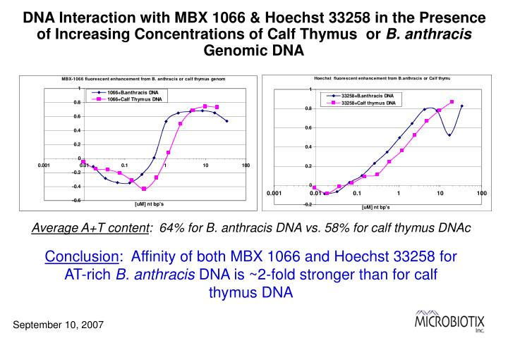 DNA Interaction with MBX 1066 & Hoechst 33258 in the Presence of Increasing Concentrations of Calf Thymus  or