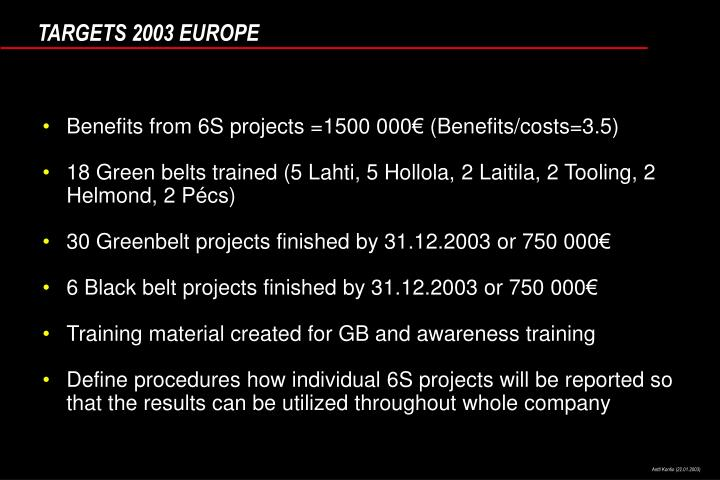 Benefits from 6S projects =1500 000€ (Benefits/costs=3.5)