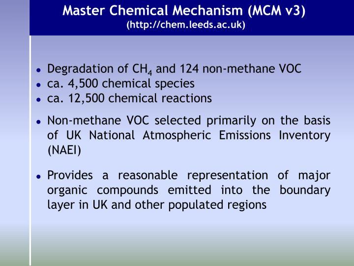 Master Chemical Mechanism (MCM v3)
