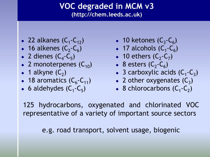 VOC degraded in MCM v3