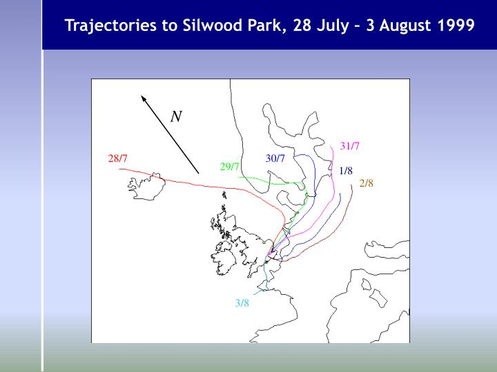 Trajectories to Silwood Park, 28 July – 3 August 1999