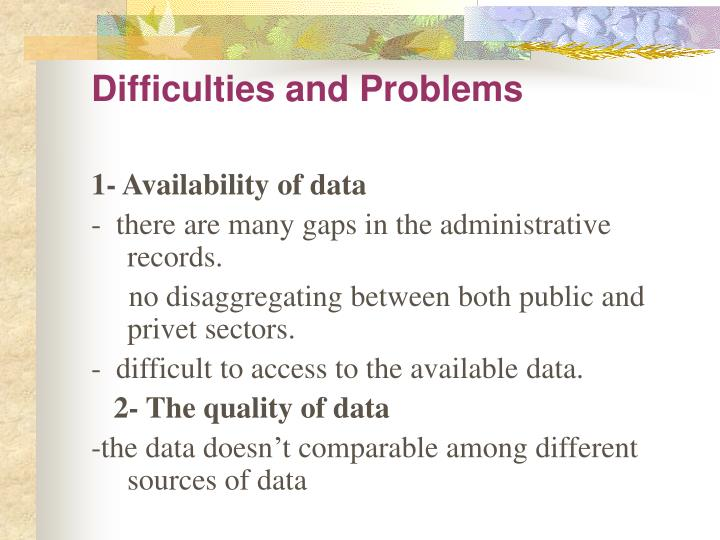Difficulties and Problems