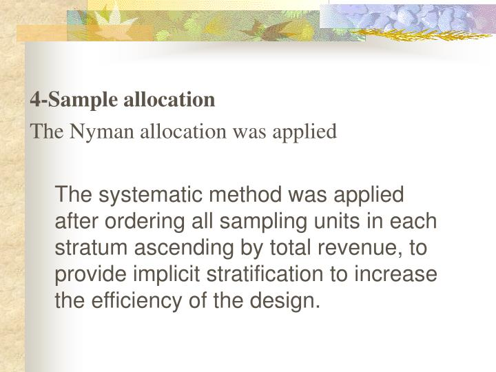 4-Sample allocation