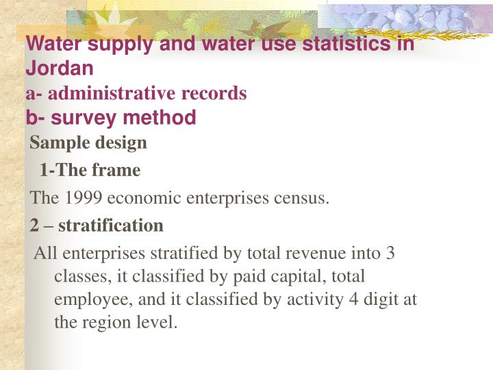 Water supply and water use statistics in Jordan