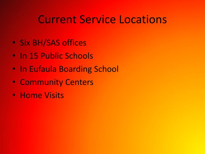 Current Service Locations