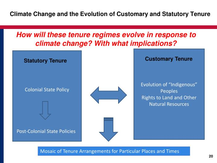 Climate Change and the Evolution of Customary and Statutory Tenure