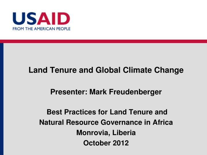 Land tenure and global climate change