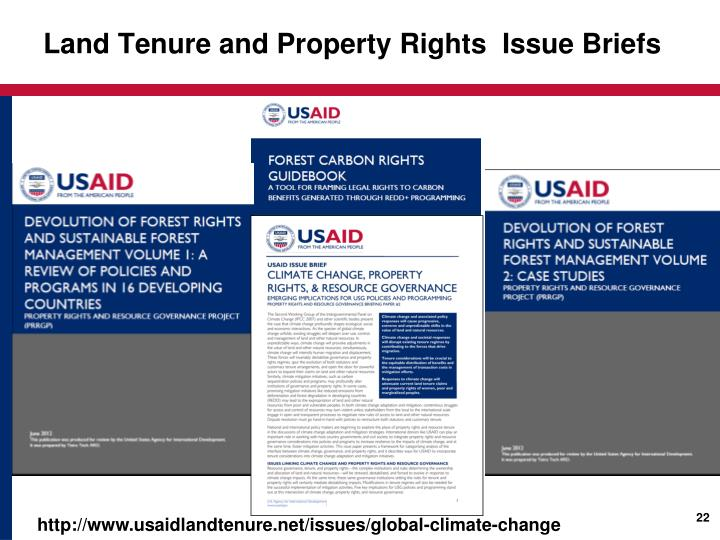 Land Tenure and Property Rights  Issue Briefs