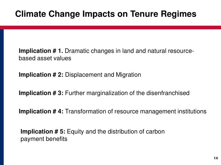 Climate Change Impacts on Tenure Regimes