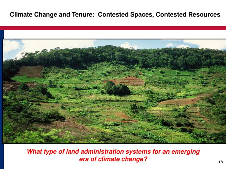 Climate Change and Tenure:  Contested Spaces, Contested Resources