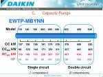 c capacity range