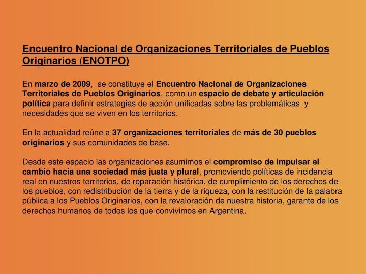 Encuentro Nacional de Organizaciones Territoriales de Pueblos Originarios